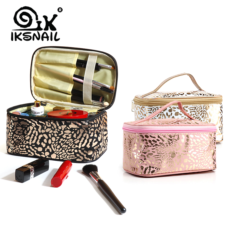 UOSC Waterproof Leopard Cosmetic Bag For Women Make Up Case Travel Clear Makeup Beauty Wash Organizer Bath Toiletry Storage Kit