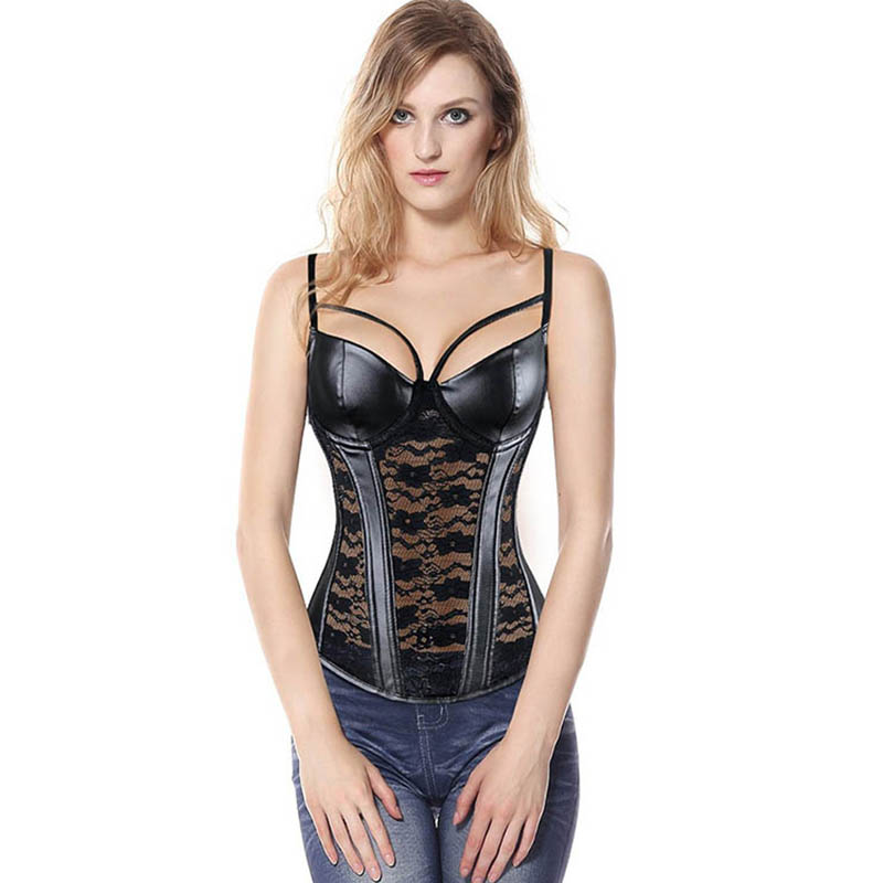 Sexy Lingerie   Bustier     Corset   Femme Steampunk Gothic Overbust   Corsets   Black Lace Faux Leather   Corset   Top Slim Waist Body Shaper