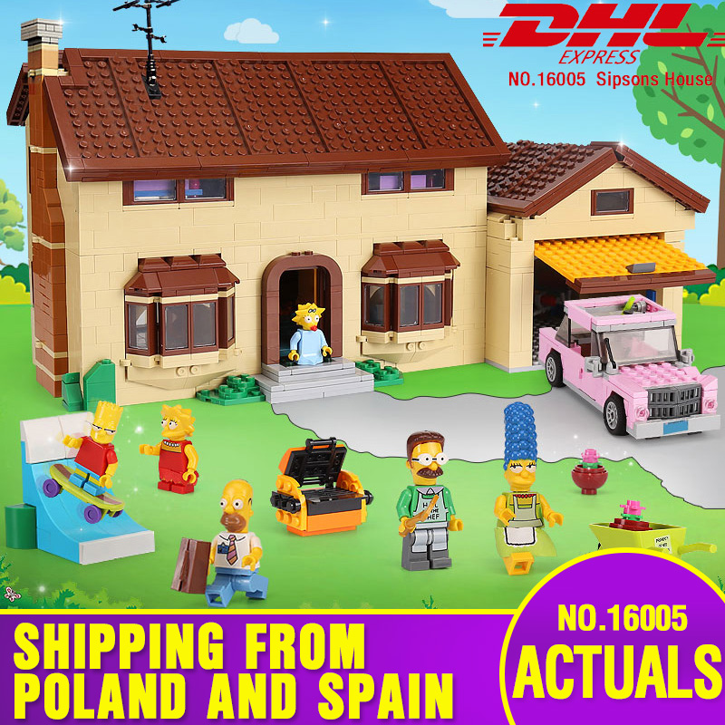 Free Shipping DHL 16005 Simpsons House 2575Pcs Model Building Block Bricks Compatible With 71006 Toys Gift For Children Brithday