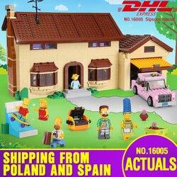Frete grátis DHL 16005 Casa Simpsons 2575 Pcs Modelo Building Block Bricks Compatível com 71006 Brinquedos Presente para as crianças brithday