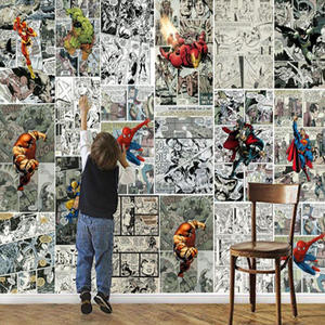 Mural Wallpaper Decoration Comics Tv-Background-Wall Marvel 3D Custom Painting Children's