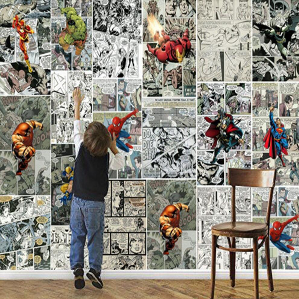 Custom Mural Wallpaper 3D Marvel Comics 3D Wall Children's Room Decoration Wallpaper TV Background Wall Decoration Painting