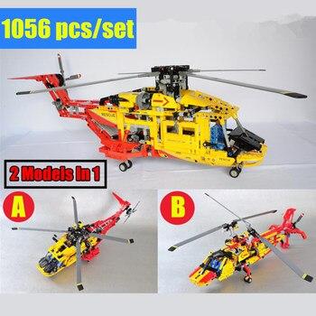 New 2 Model In 1 City Rescue Helicopter Fit  Technic Plane Model Building Blocks Bricks 3357 9396 Diy Toy Gift Boys Kid Birthday