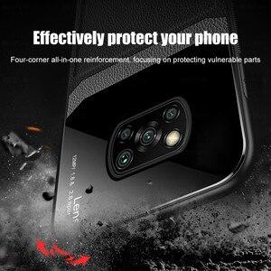 Image 4 - Leather Texture Plexiglass Case For Xiaomi Poco X3 Pro F3 M3 Mi Poxo Pocophone Pocco F M X 3 NFC Silicone Cover Shockproof Coque