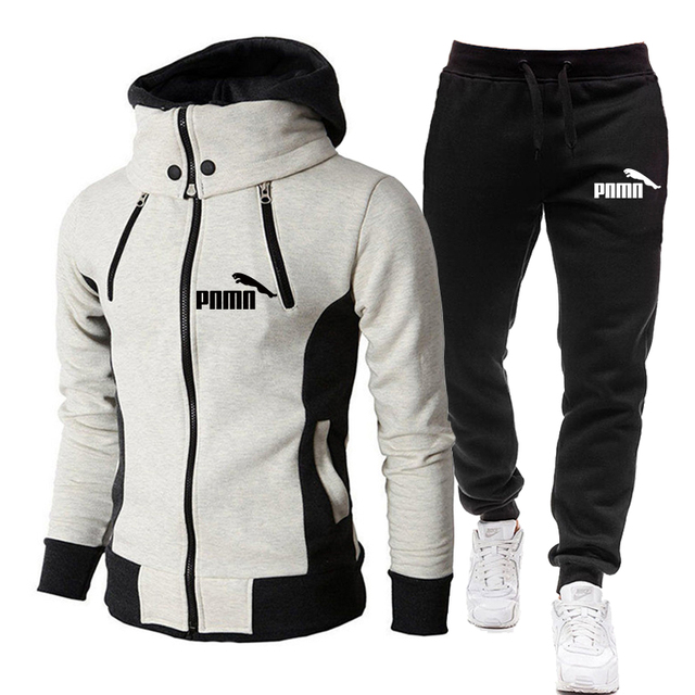 Men Sets Tracksuit Winter Jacket Fashion Scarf Collar Hooded+Pants Casual Fleece Coats Sportswear Sports Suit for Men Clothes