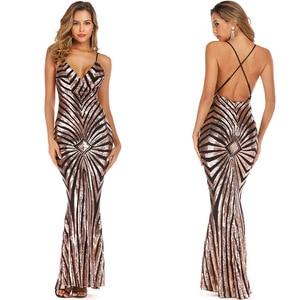 Image 5 - YIDINGZS Mermaid altın Sequins akşam elbise askıları parti seksi Vestido De Festa uzun balo elbisesi YD19009