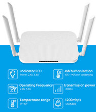 AC1200 Gigabit Wifi Router Dual Band 2.4G&2.5G  USB2.0 With English/Russia Firmware IEEE802.11n/g/b/a/ac  VPN/ L2TP/ PPTP
