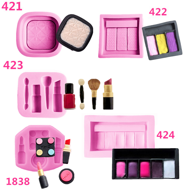 Makeup Tools Cake Moulds Lipstick Nail Polish Chocolate Party DIY Fondant Cake Decorating Tools Silicone Mold Dessert Mould Tool