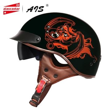 AIS Retro Motorcycle Helmet Moto Helmet Scooter Vintage Half Face Biker Motorbike Crash Moto Helmet Casco Moto