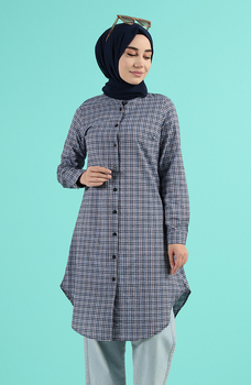 Minahill Indigo tunika moda muzułmańska islamska odzież skromne topy arabska odzież długa tunika dla Women2520-02 tanie i dobre opinie TR (pochodzenie) tops Aplikacje Bluzki i koszule Octan Dla dorosłych