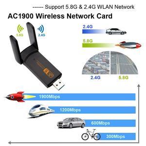 Image 4 - USB3.0 無線 Lan アダプタ 1900 300mbps のデュアルバンド 2.4Ghz + 5.8 1.2ghz の Wi Fi ドングルコンピュータ 802.11AC ネットワークカード USB 2 アンテナハイスピード