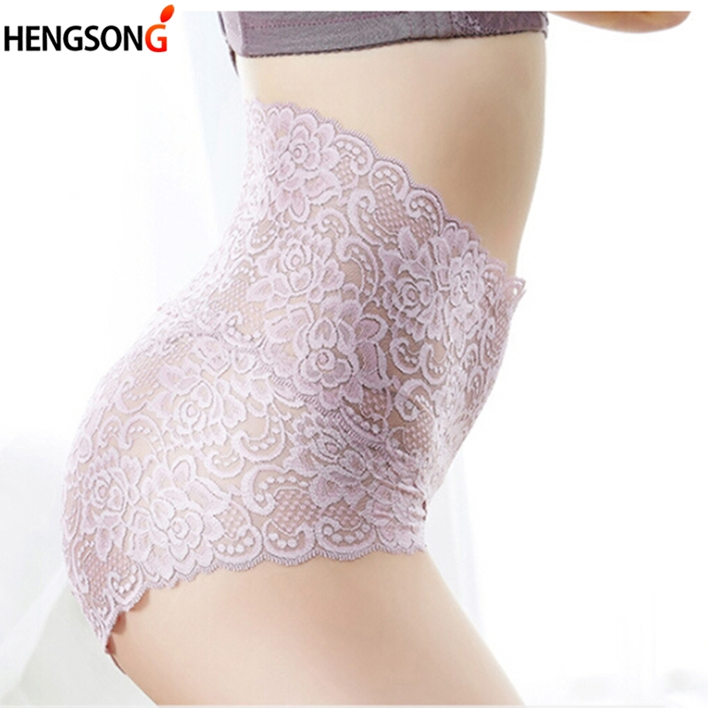 Sexy Female Lace Panties Ladies Bodycon Belly High Waist Underwear Hollow Out Floral Panties Women's Intimates