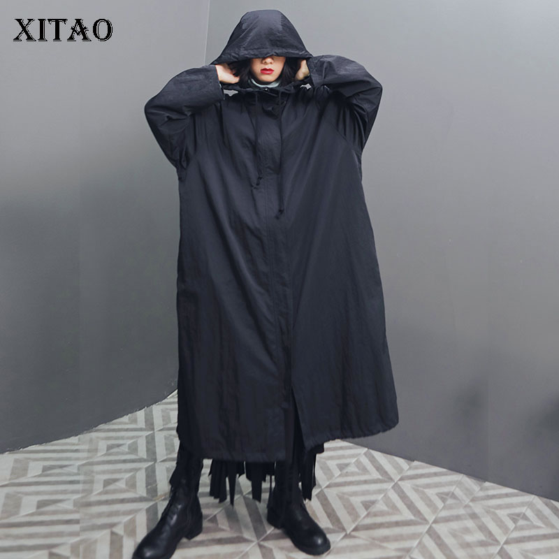 XITAO Thin Plus Size   Trench   Women Fashion Wide Waist Hooded Collar Black Long Pocket Drawstring Elegant 2019 Autumn Coat WQR1737