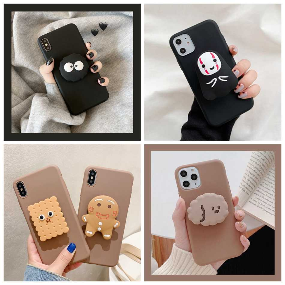 Voor Iphone 11 Pro Xr Xs Max Se 2020 8 6S 7 Plus Case 3D Leuke Cartoon Avocado Biscuit beer Faceless Opvouwbare Houder Soft Cover