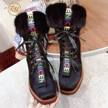 RY-RELAA, zapatos de mujer 2018, botas de invierno a la moda, estilo ins, cuero genuino para mujer, botines de piel de visón, botas de plataforma