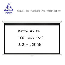 Thinyou 100inch 16:9 Matte White Manual self-locking Projector Screen Wall Mount Pull Down pantalla proyeccion For Cinema Office