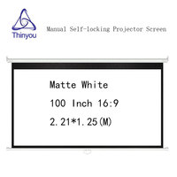 Thinyou 100inch 16:9 Matte White Manual self locking Projector Screen Wall Mount Pull Down pantalla proyeccion For Cinema Office