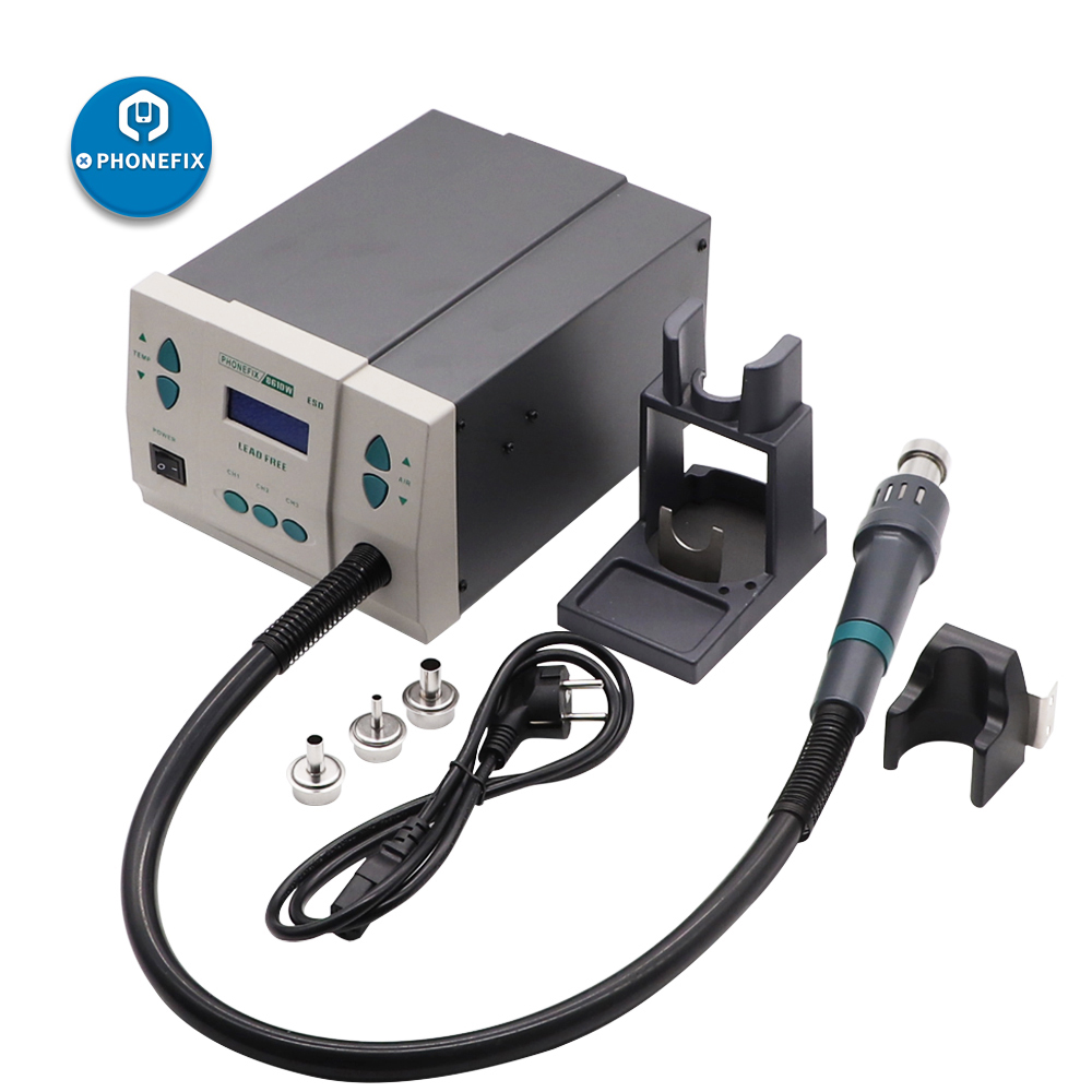 PHONEFIX 861DW 110V  220V Lead Free Hot Air Rework Station BGA Soldering Station with 3 Nozzles for Phone PCB Soldering Repair