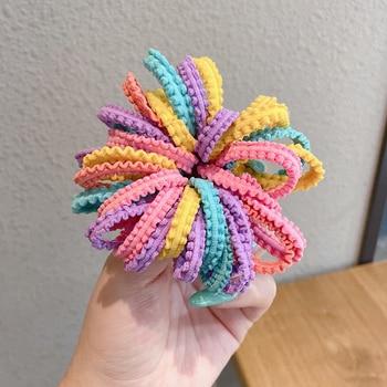 200PCS/Set Girls Candy Colors Nylon Elastic Hair Bands Children Rubber Band Headband Scrunchie Fashion Hair Accessories 5