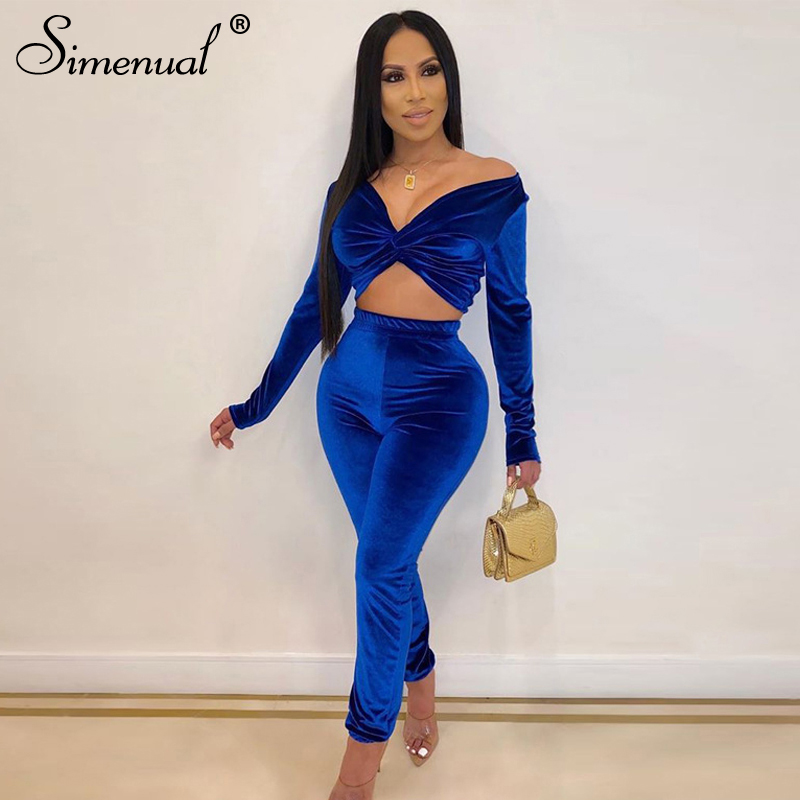 Simenual Velvet Fashion Autumn Matching Sets Women Sexy Slim Criss Cross V Neck Two Piece Outfits Long Sleeve Top And Pants Set