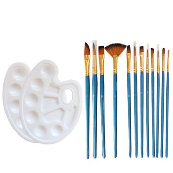14pcs/set Artist Paint Brush Nylon Hair Watercolor Acrylic Oil Painting Palette 12 wood artist paint brush suits wood palette nylon hair watercolor acrylic painting brush artistic supplies
