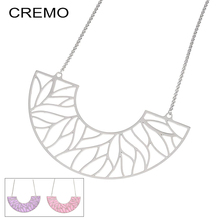 Cremo Custom Statement Reversible Leather Necklaces & Pendants Stainless Steel Statement Pendant Charm Choker Chain Necklace цена