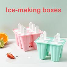 4/6 Grids Food Grade Silicone Homemade Ice Popsicle Mold Frozend DIY Mould Tray DIY Homemade Ice Cream Ice Tray Ice Box Creative