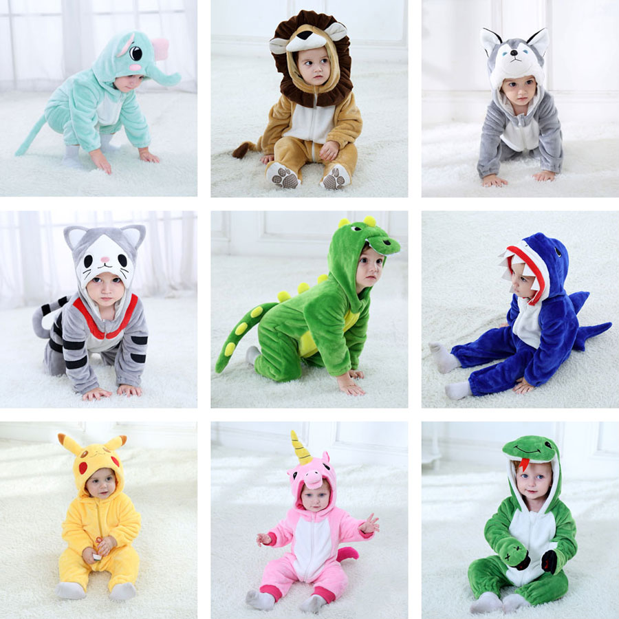 Umorden Baby Pikachu Unicorn Dinosaur Dog Lion Costume Kigurumi Cartoon Animal Rompers Infant Toddler Halloween Fancy Dress