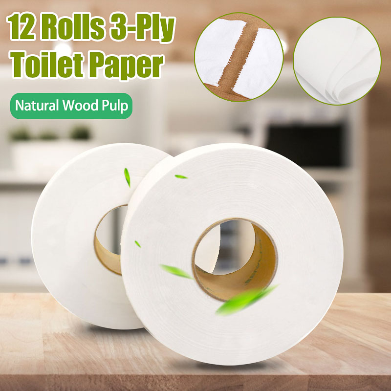 12 Rolls Tissue Paper Office Home 3Layer Thick Soft Tissue Roll Soft Skin-Friendly Paper Towel Household Roll Toilet Paper