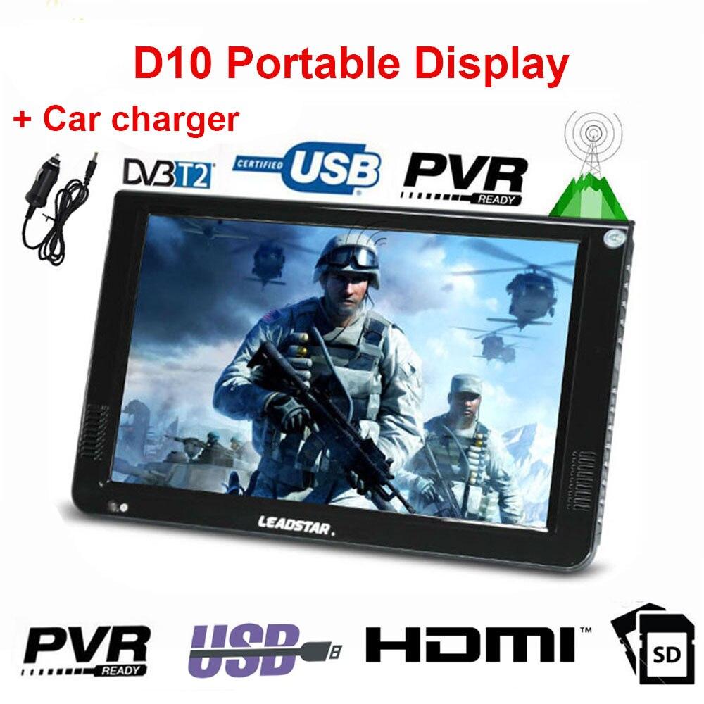 LEADSTAR D10 LED TV 10.2 inch Portable Display digital player DVB-T2 ATSC Portable TV USB TF Card HDMI-Compatible Car charger