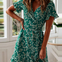 Dress Ruffle Robe Short-Sleeve A-Line Floral-Print Boho Beach Sexy v-Neck Mini Summer