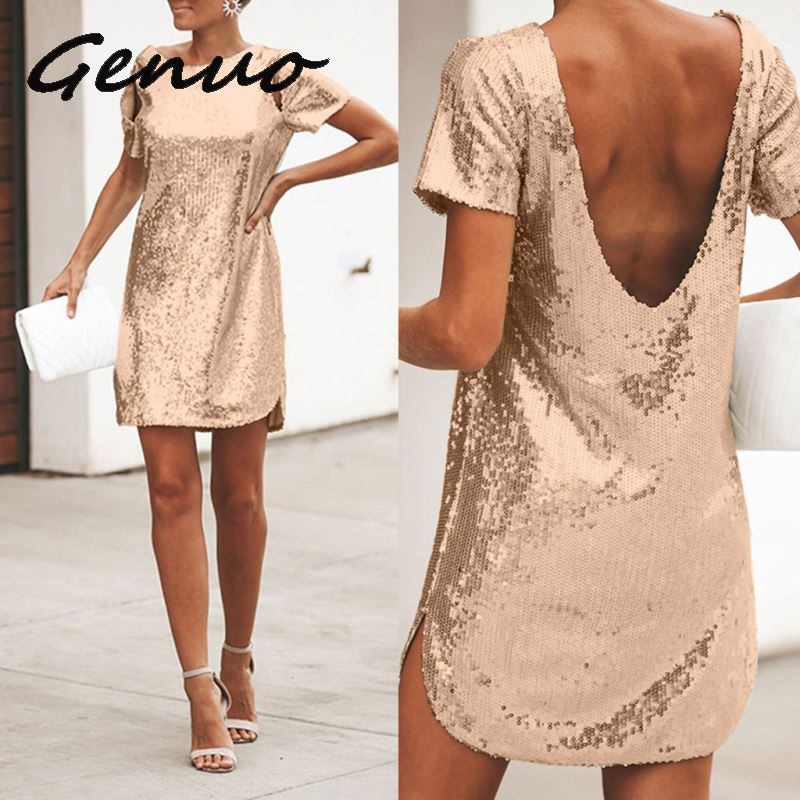 Genuo New 2019 Women Dress Sequined Short Sleeve Backness Summer Dress Straight Siliver Golden Party Dress Ladies Black Red 2019