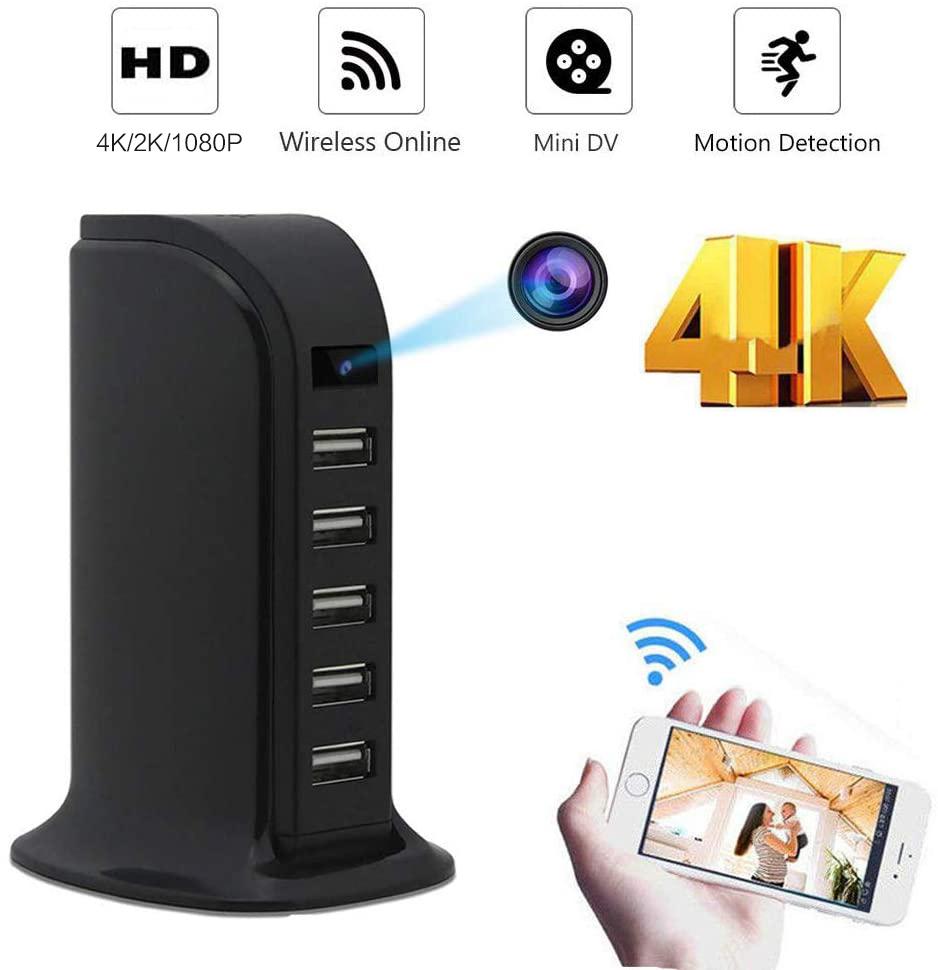 New HD 4K Mini Wifi Charger Camera Real-time Surveillance Motion Detection Loop Recording Wireless Recorder support Hidden TF