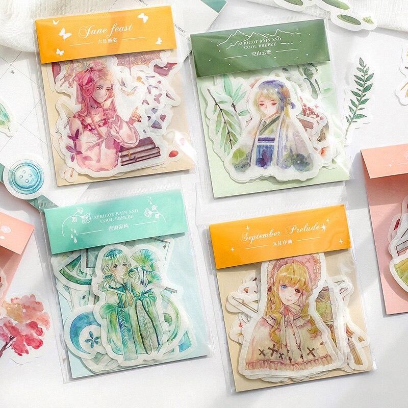 40 pcs/pack Kawaii fruit cake girl Journal Decorative Stickers Scrapbooking Stick Label Diary Album