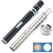 USB перезаряжаемая медицинская удобная ручка свет мини кормящих фонарик светодиодный фонарик с зажимом из нержавеющей стали карманный светодиодный фонарик