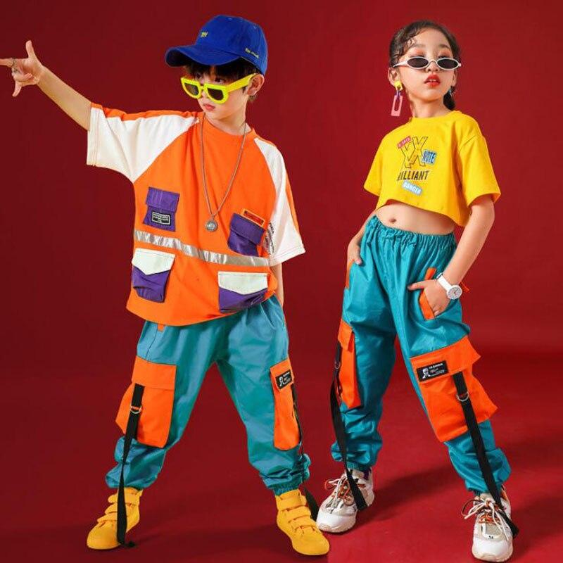 Kids Hip Hop Clothing For Girls Boys Crop Tank Tops Jogger Long Pants Jazz Dance Wear Costume Ballroom Dancing Clothes