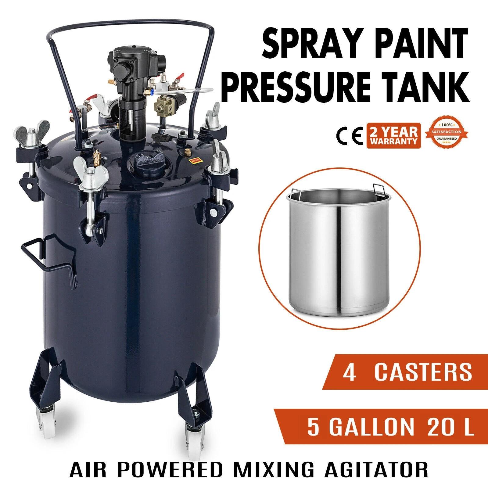 5 Gallon Spray Paint Pressure Pot Agitator Commercial Lacquer 3//8 Fluid Outlet