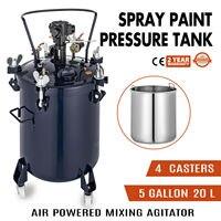 5 Gallon 20L Paint Pressure Feed Pot Tank Spray Gun Regulator Agitator Mixer