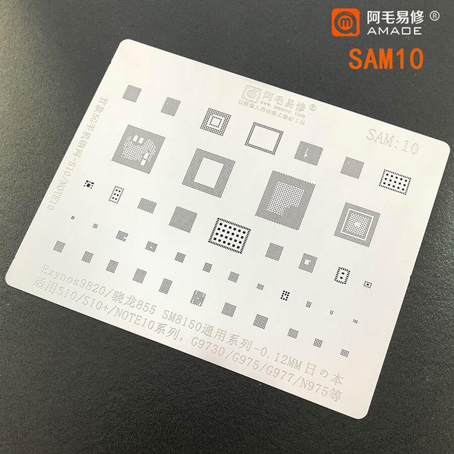 Amaoe BGA reballing stencil For SAMSUNG S10 S10+ Note10 G9730 G975 N975 SM8150 Exynos 9820 855  CPU RAM WIFI Chip Tin Plant Net 1