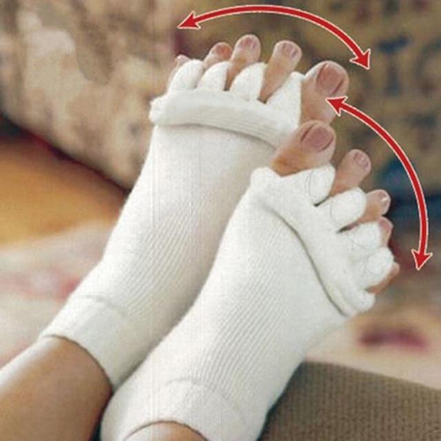 OPHAX 1pair Men Women Unisex Yoga Socks Sleeping Health Foot Care Massage Toe Socks Five Fingers Toes Compression Treatment