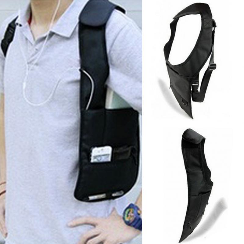 Unisex Travel Bag Anti-Theft Safety Hidden Underarm Holster Shoulder Bag Durable Nylon Storage Bag For Coin Key Pen Phone Black