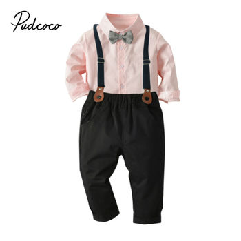 Kid Toddler Baby Boys Clothes Sets Bow Tie Pink Dress Shirts + Suspenders Pants Toddler Party Boy Gentleman Outfits Suits 2-7T 1