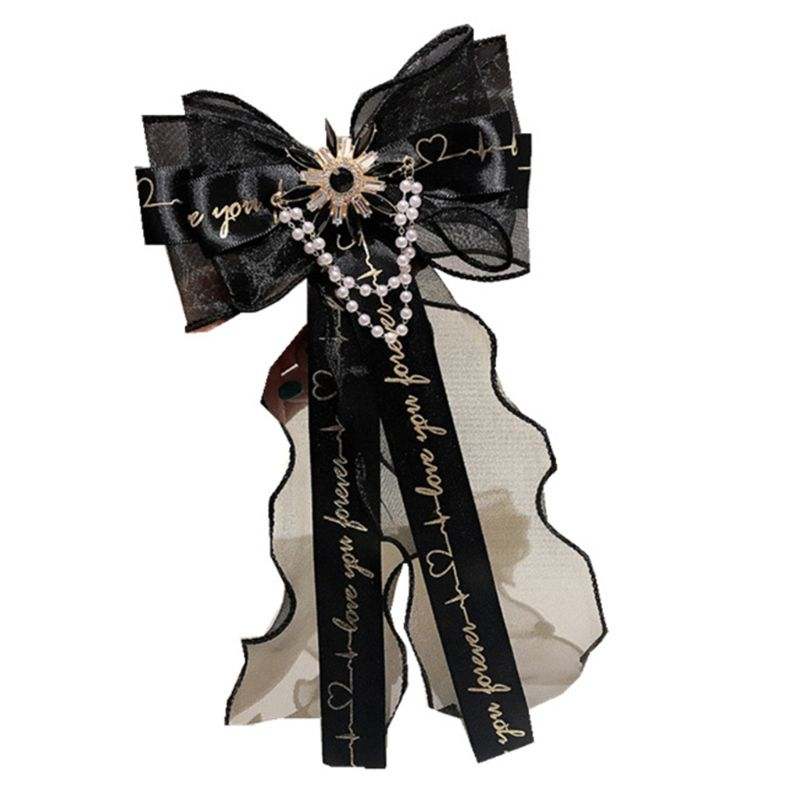 WomensCollege Style Black Lace Letters Bow Tie Imitation Pearl Rhinestone Flower Shirt Collar Brooch Pin Luxury Jewelry Necklace