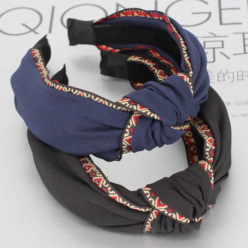 Helisopus модная Женская эластичная повязка на голову с крученым узлом, широкий головной убор, богемная Этническая вышивка, Женская лента для волос, аксессуары для волос