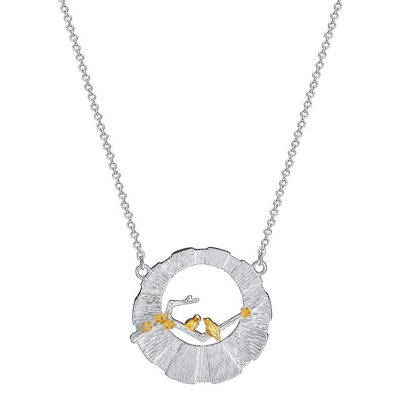VLA 925 Silver Chinese Style Fashion Design Bird Branch Necklace Women's Personalized Hollow Round Pendant 6