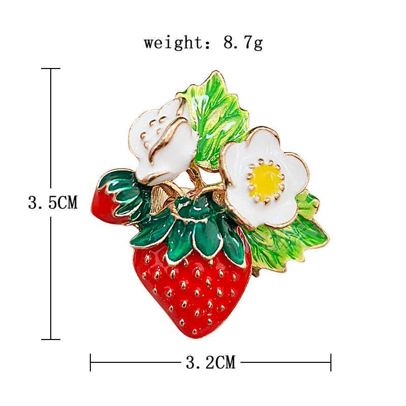 חדש פופולרי צבוע טיפת שמן פירות תות סיכת מאה בגדים תכשיטי פין סיכת