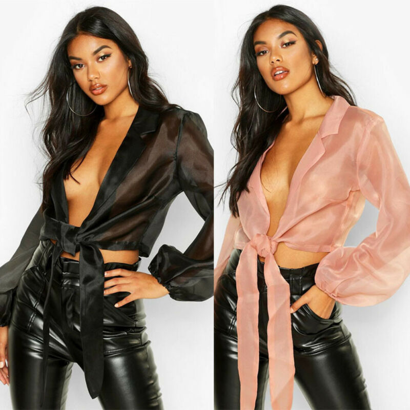 Women's Sexy Tie Up V Neck Chiffon Blouse Autumn Long Sleeve Casual Lace Up Crop Blouse OL Shirt