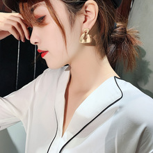 925 S Needle Earrings With Irregular Circle Shell Geometric For Women Exaggerated Retro Cold Style Lady Jewelry