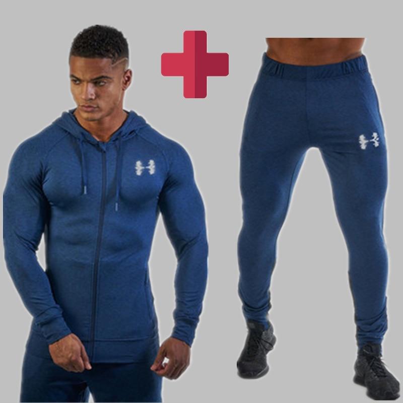 Gyms Men Spring Set Men's Fashion Sportswear Tracksuits Sets Men's Bodybuilding Hoodies+Pants Casual Fitness Outwear Suits Men