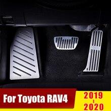 อลูมิเนียมAcceleratorเหยียบแก๊สเบรคเหยียบเจาะฝาครอบFootrestสำหรับToyota RAV4 RAV 4 XA50 2019 2020อุปกรณ์เสริม